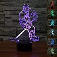 New 3D Ice Hockey Athlete LED Night Light Touch Table Desk Lamps 7 Color Changing Illusion Lights with Acrylic Flat ABS Base USB Charger for Christmas Gift
