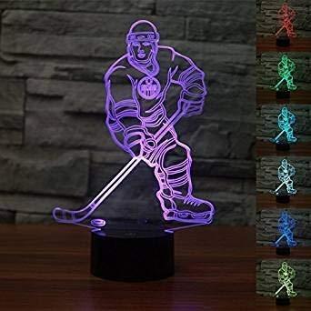New 3D Eishockey Leichtathlet LED LED Nacht Licht Touch Tisch Schreibtisch Lampen 7 Farbwechsel Illusion Leuchten mit Acryl Flach ABS Boden USB-Ladegerät für Weihnachten Geschenk