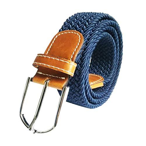 Gürtel 100-135cm / Dorical Unisex Elastischer Stoffgürtel Geflochtener Stretchgürtel Dehnbarer Gürtel für Damen und Herren(Blau)