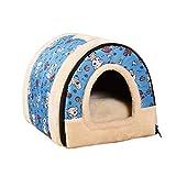 JEELINBORE 2 en 1 Casa y Sofá para Mascotas Lavable Plegable Suave Cama de Perro Gato con Cojín extraíble Colchón (S: 35 * 30 * 28CM, Azul)