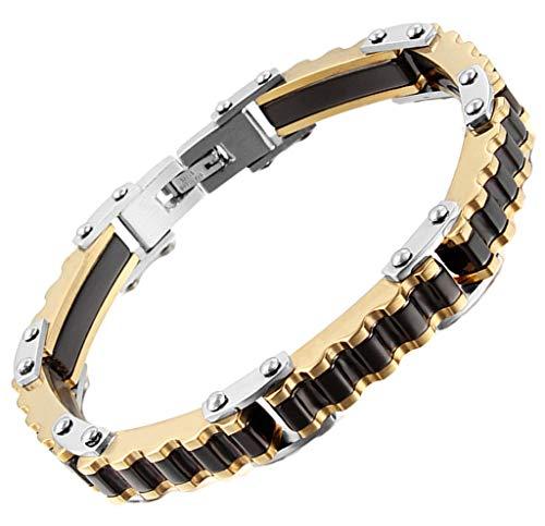 AnazoZ Edelstahl Armband Für Herren Kette Armband Schwarz Gold Rectangle Biker Kette ()