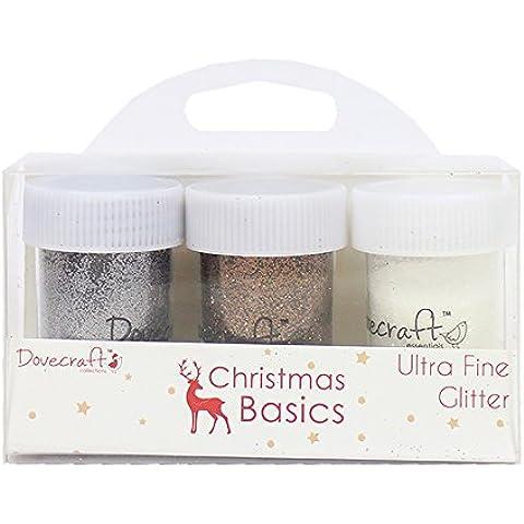 Dovecraft Natale Basics Vasi, Glitter, Multicolore