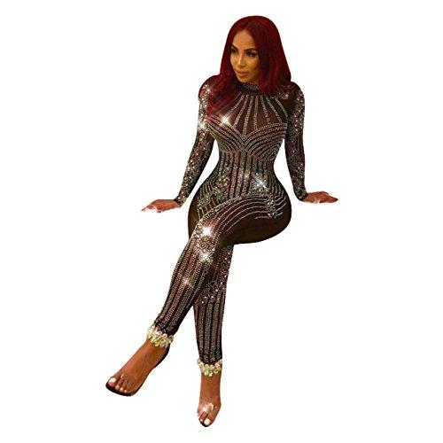 Kleid Sexy Kegeln Kostüm - ADFHGFJ Sexy Dessous Nachtclub Kleid Frauen Sexy heißer Bohren Jumpsuit Net Garn Perspektive Body Catsuit Strampler, XL