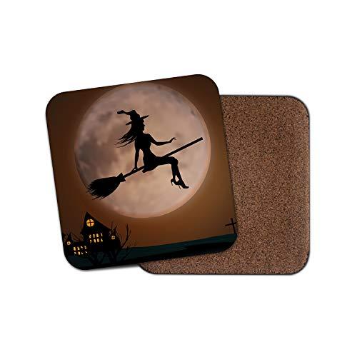 #16804 Untersetzer mit Hexen-Silhouette - Besen Halloween Haunted Full Moon Geschenk (Halloween Zeigt Großbritannien)