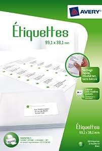 Avery 168 Etiquettes Autocollantes (24 par Feuille) - 99,1x38,1mm - Impression Jet d'Encre - Blanc (J8163)