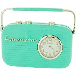 Miniature Green Transistor Radio Novelty Old Style Desktop Collectors Clock 9142