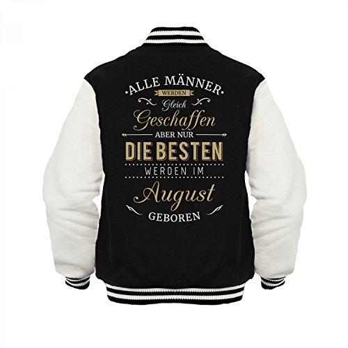 Fashionalarm Herren College Jacke - Nur die besten Männer werden im August geboren | Varsity Baseball Jacket | Sweatjacke als Geburtstag Geschenk Idee Schwarz / Weiß