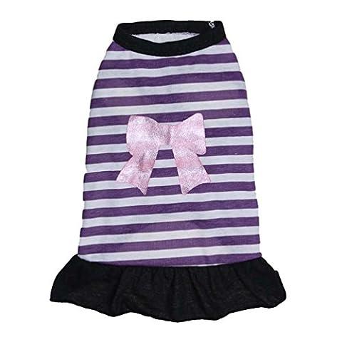 YiJee Mignon Gilet Vêtements pour Chien Rayure Arc T-shirt pour Chiot Respirant Animaux Costume Violet