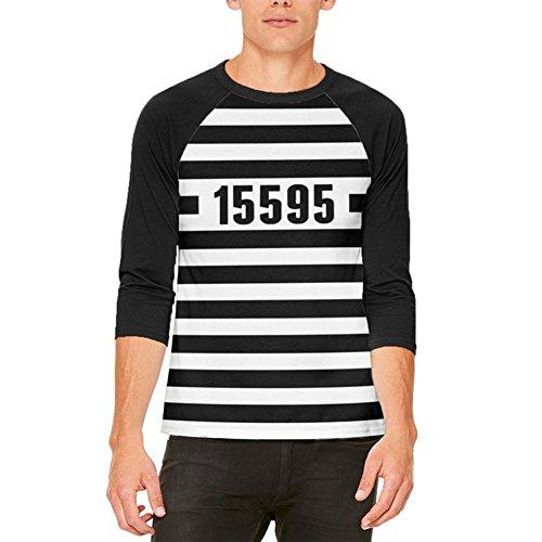 Halloween Gefangenen alten Zeit gestreifte Kostüm Herren Raglan T Shirt weiß-schwarz X-LG (Gefangener Kostüme Für Männer)