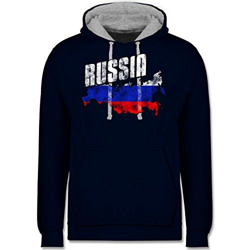 Fußball-WM 2018 - Russland - Russia Umriss Vintage - Kontrast Hoodie Dunkelblau/Grau meliert