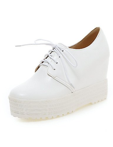 ZQ hug Scarpe Donna - Scarpe col tacco - Ufficio e lavoro / Casual / Serata e festa / Formale - Tacchi - A cono - Finta pelle -Nero / Bianco / , white-us6 / eu36 / uk4 / cn36 , white-us6 / eu36 / uk4  black-us8 / eu39 / uk6 / cn39