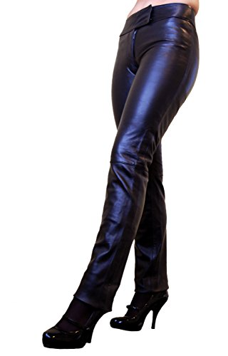 RICANO LOW CUT Damen Lederhose, Lamm Nappa Echtleder in schwarz und rot (Schwarz, XL)