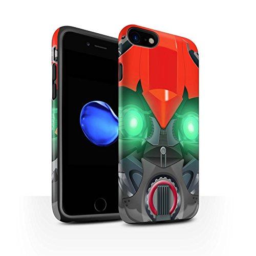 STUFF4 Matte Harten Stoßfest Hülle / Case für Apple iPhone 8 / Bumble-Bot Red Muster / Roboter Kollektion Bumble-Bot Red