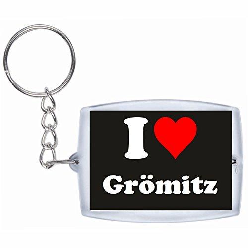 """Preisvergleich Produktbild Exklusive Geschenkidee: Schlüsselanhänger """"I Love Grömitz"""" in Schwarz, eine tolle Geschenkidee die von Herzen kommt - Rucksackanhänger- Weihnachts Geschenktipp"""