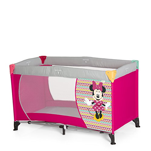 Hauck Dream N Play - Cuna de viaje 3 piezas 120 x 60 cm, bebe, incluido colchóncito y bolsa de transporte, de 0+ meses hasta 15 kg, plegado y montaje fácil, ligera y estable, minnie geo, pink