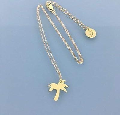 Collier palmier, Collier en acier inoxydable avec palmier doré à l'or fin 24k, collier femme doré, bijou doré, bijou Palmier, idée cadeau, bijoux cadeaux