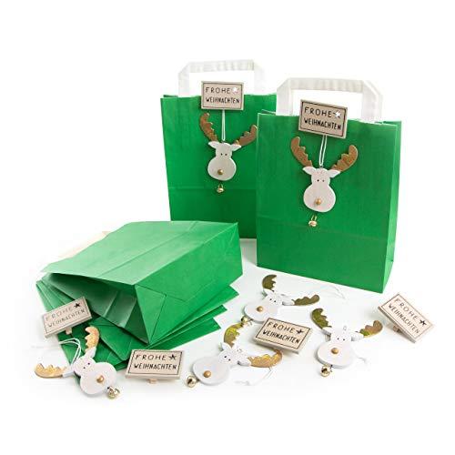 10 kleine dunkel-grüne weihnachtlich Verpackung Tüten Beutel Papier + FROHE WEIHNACHTEN Klammern + RENTIER GEWEIH Kopf Anhänger