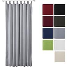 Beautissu Blickdichter Schlaufen-Vorhang Amelie - 140x245 cm Grau Uni - Dekorative Gardine Schlaufenschal Fenster-Schal