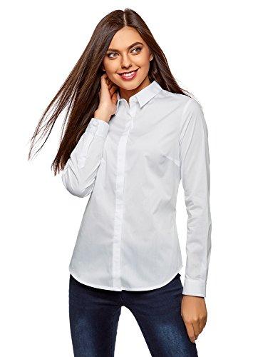 Oodji ultra donna camicia basic slim fit, bianco, it 46/eu 42/l
