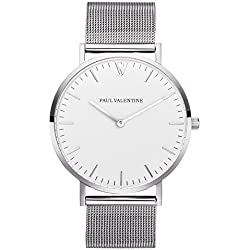 Paul Valentine Watch | Finest Marina Silver Mesh Women's watch With Elegant And Timeless Design Stainless Steel Bracelet