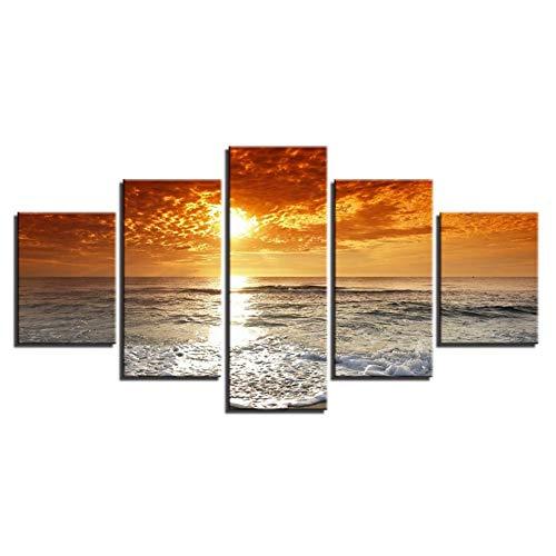 """WLGOOD-Bild 50X25 cm/19.7\""""x9.9\"""",In Vier Größen erhältlich -Bilder auf Leinwand-Leinwandbilder-Bilder-Vlies Leinwand-Wandbilder-Kunstdrucke-5 Teilig,Sonnenuntergang"""