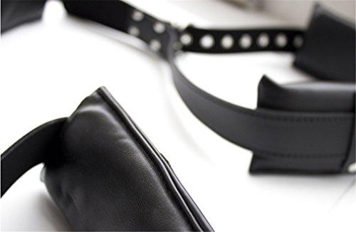 Lieberpaar Damen und Herren SM Kunstleder Bondage-Sets Fesselset Schwarz Spreader Körper Fessel Set Fetisch Harness Bedroom Sexspielzeug - 5