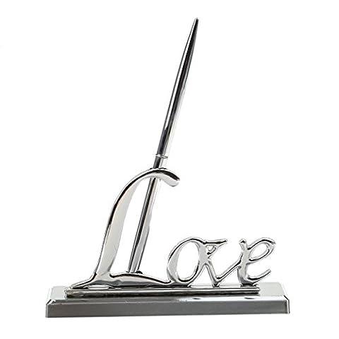 ROSENICE Hochzeit Unterzeichnung Stift mit Silber vergoldete Metall Liebe Halter Party Pen Set Geschenk (Silber)