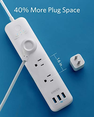 Power Strip, Anker 3-Outlet & 3 PowerIQ USB Ports Surge Protector Power Strip, PowerPort Strip 3 with Overload Protection, Electronic Microswitch, Safety Door, 5 Foot Extension Cord, for Home, Office