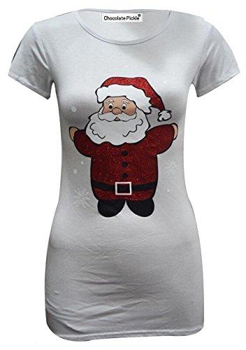 Neu Damen Neuheit Weihnachten santa Kurze Hülse T-Shirts Oberteile 36-54 White Santa