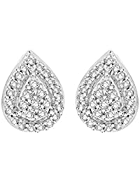 Pave Prive Women's 9ct White Gold Round White Diamonds Pear Drop Stud Earrings