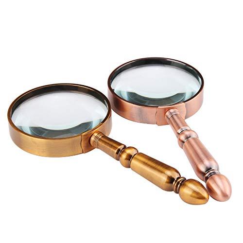 Handvergrößerungslupen 10x mit HD-Objektiv für Kinder und alte optische Brillengläser Lesen Hobbies Schmuck Karten Handwerk Schmuck Identifikation Handy Objektiv Magnifiying Glas (Color : Copper)