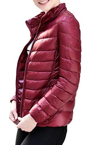 HENGJIA Damen Bepackbare Daunenjacke Leichte Steppjacke Daunenjacke für Winter Weinrot