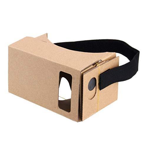 V1.0 Google Cardboard, 3D VR Headset, Virtual Reality Brille Box mit großen klaren 3D optischen Linsen und bequemem Kopfband Nasenpolster für die meisten Smartphones
