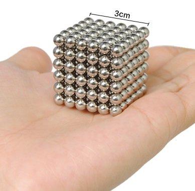 Las bolas magnéticas del cubo del rompecabezas mágico del hierro de 216PCS 5m m juegan la acumulación magnética de la caza del juguete del escritorio del bloque del rompecabezas, la inteligencia desarrollan y relevación de tensión, bola de la tensión (plata)