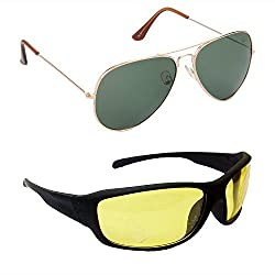 RED LEAF Aviator Green Lens Gold Frame, Sports Yellow Lens Black Frame - RCMB104 COMBO