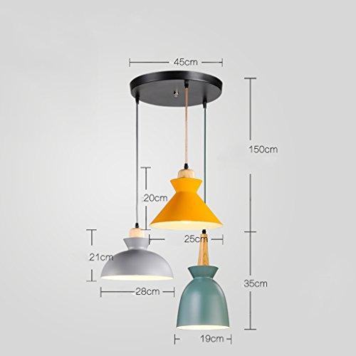 NAUY Lampadari stile scandinavo moderno moderno creativo personalità ristorante tavolo da pranzo sala da pranzo cucina bar contatore legno massello lampadario a 1 testa ( Colore : 3-head(3) )