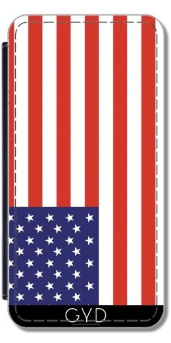 Leder Flip Case Tasche Hülle für Apple iPhone 4/4S - Amerikanische Flagge by Tom Hill (Apple Hill)