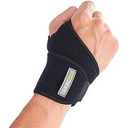 BRACOO Handgelenkbandage - Ideal bei Sehnenscheidenentzündung & Karpaltunnelsyndrom | Handgelenkstütze für Sport und Alltag | Wrist Wrap für Damen & Herren | schwarz