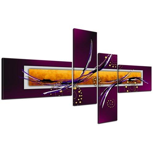 Cuadros en Lienzo - Arte abstracto III violeta - 140x65cm 4 partes - Listo tensa. Made in Germany!!!
