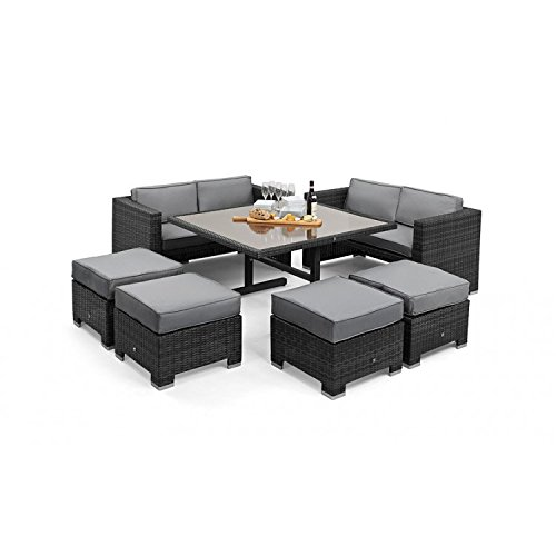 San Diego Dallas Baby Rattan Garden Furniture Grey Cube Sofa Set Garden Rattan Furniture