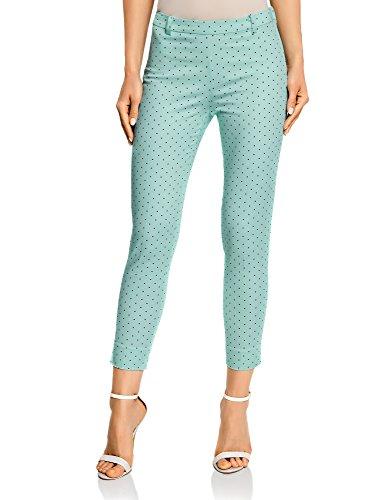 oodji Collection Mujer Pantalones de Algodón Estrechos, Verde, ES 38 / S