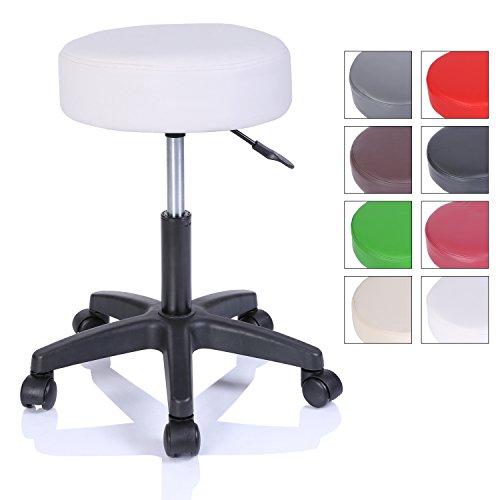 TRESKO Rollhocker Arbeitshocker Hocker Drehhocker Kosmetikhocker Praxishocker höhenverstellbar mit Rollen, 360° drehbar, 10 cm Polsterfläche und 8 Farbvarianten (Weiß) -