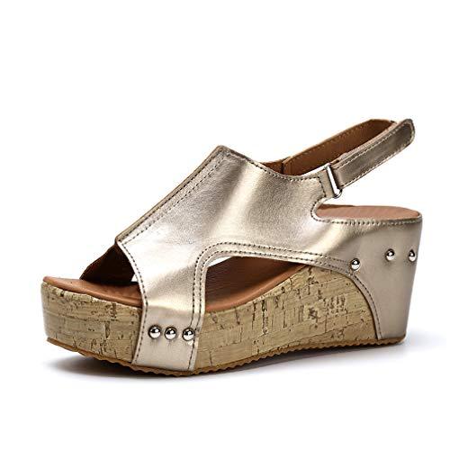 Damen Sandalen Keilabsatz Sommerschuhe Plateau Wedge Schuhe Knöchel Schnalle Peep Toe Elegant High Heels Schwarz Beige Braun Gold Gr.34-43 GD40 Wedges Heels