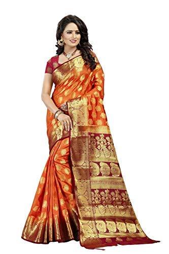 Dealsure Women\'s Multicolor Banarasi Saree with Blouse Piece.