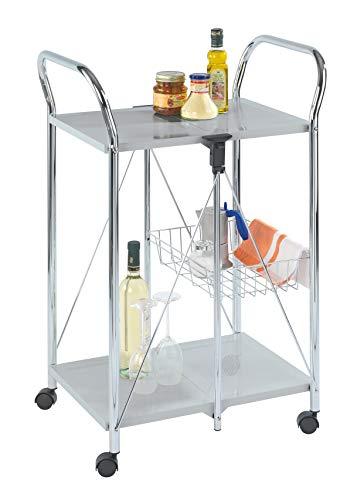 WENKO 900060100 Beistell- und Küchenwagen Sunny - zusammenklappbar, Ablagekorb, Chrom, 60 x 90 x 44 cm, silber