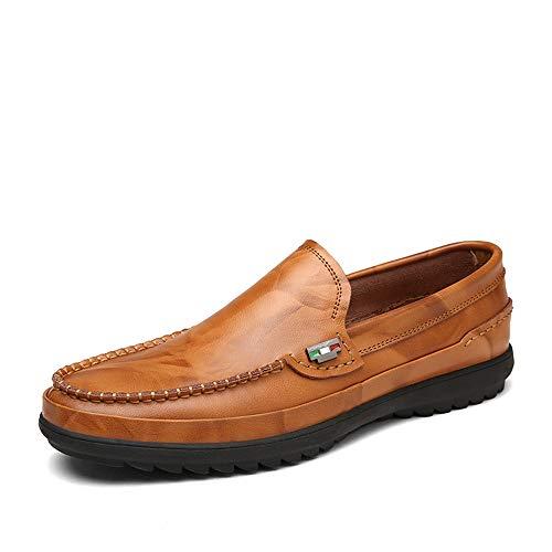 Xiazhi-shoes, mocassini per uomo, casual e high-end in pelle morbida traspirante suola oxford, (color : yellow brown, dimensione : 40 eu)