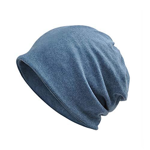 Yuccer Beanie Mütze, Baumwolle Unisex Hat 2-in-1 Skull Cap Halstuch Chemo Hut, Leicht und Weich (Dünn, königsblau)