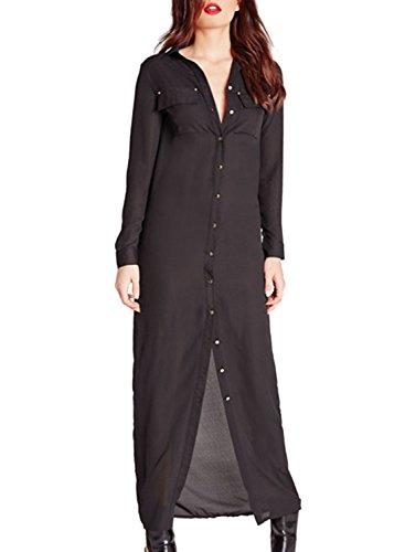 Azbro Women's Loose Fit Single Button Shirt Dress Black