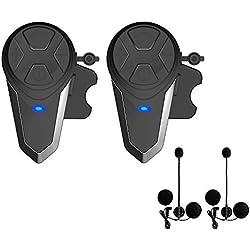 Lemnoi BT-S3 Intercomunicador Casco Moto, Intercomunicador Bluetooth para Moto Manos Libres Radio FM, Gama Comunicación Intercom de 1000m, Impermeabilidad (BT-S3*2)