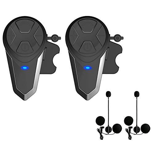 Lemnoi BT-S3 Motorradhelm-Gegensprechanlage, Bluetooth-Freisprech-Motorrad-Gegensprechanlage FM-Radio, 1000 m Intercom-Kommunikationsreichweite, wasserdicht (BT-S3 * 2)